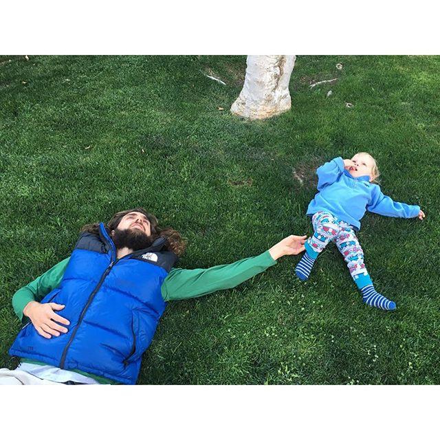 Resting on some of LA's finest green grass. #fatherson #backinthecity #boyhood #losangeleskids #candidchildhood #dailywalk #greengrass
