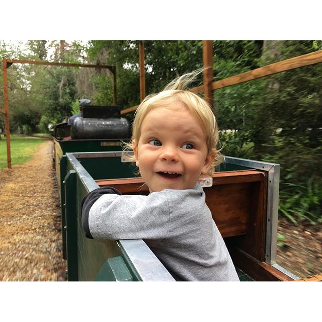 The face of someone who got to ride in his own train car today all by himself. Bonus: because of the rain, there were only three of us on the entire train. Malcolm, Mama and Edgar, the engineer. #griffithpark #railroad #toddlerlife
