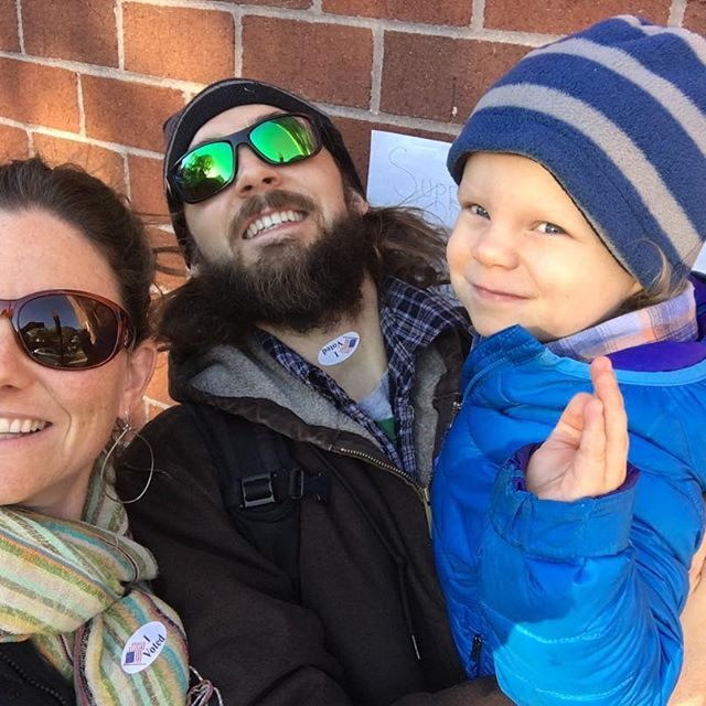 Family voting! Gratitude. Malcolm decided the best place for the I Voted sticker was @jdegrazia's neck.