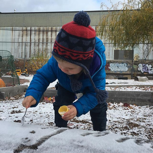 """Pre-school snack. First snow ever for this Cali kid. """"It's winter! It's winter! Do you see that it's winter?!"""""""