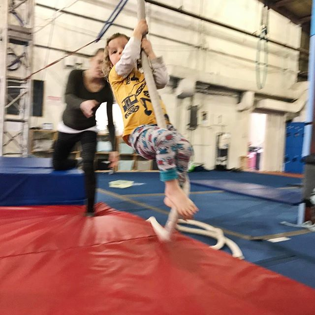 Circus class. Thrilled to be a rope climber like auntie @annerkwhale.