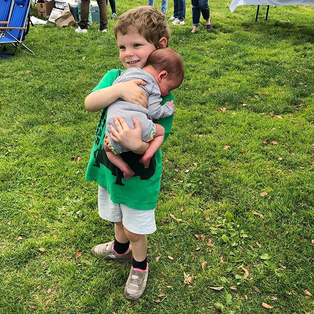 "Showing off his baby on the birthday party circuit. He tells his brother daily: ""I love you the best of anyone in this family, and anyone in the whole world."" #brothers"